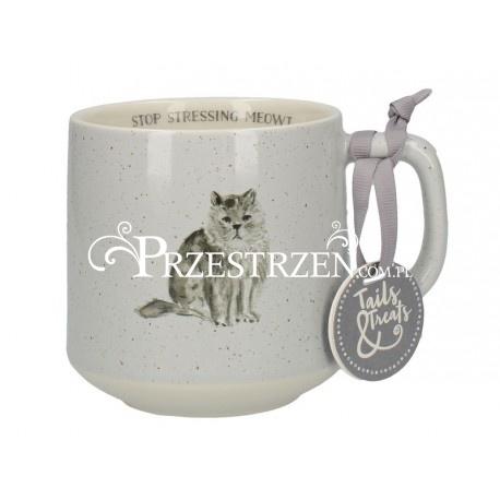 Duży Ceramiczny Kubek Szary Kot Tails Treats Sklep